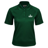 Ladies Dark Green Textured Saddle Shoulder Polo-D Dartmouth Stacked
