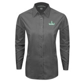 Ladies Grey Tonal Pattern Long Sleeve Shirt-D Dartmouth Stacked