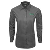 Ladies Grey Tonal Pattern Long Sleeve Shirt-Dartmouth Big Green