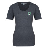 Ladies Charcoal Heather Scoop Neck Sweater-Dartmouth D