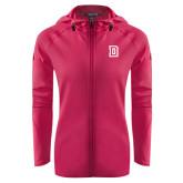 Ladies Tech Fleece Full Zip Hot Pink Hooded Jacket-Dartmouth D