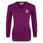 Ladies Deep Berry V Neck Sweater-Dartmouth D