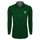 Ladies Dark Green Twill Button Down Long Sleeve-Dartmouth D