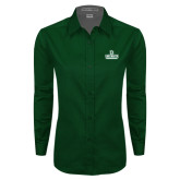 Ladies Dark Green Twill Button Down Long Sleeve-D Dartmouth Stacked