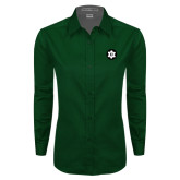Ladies Dark Green Twill Button Down Long Sleeve-Dartmouth Ski
