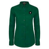 Ladies Dark Green Twill Button Down Long Sleeve-D Snowflake