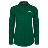 Ladies Dark Green Twill Button Down Long Sleeve-Dartmouth Arched