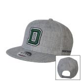 Heather Grey Wool Blend Flat Bill Snapback Hat-Dartmouth D