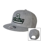 Heather Grey Wool Blend Flat Bill Snapback Hat-D Dartmouth Stacked