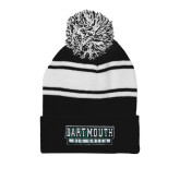 Black/White Two Tone Knit Pom Beanie with Cuff-Dartmouth Big Green