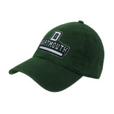 Dark Green Twill Unstructured Low Profile Hat-D Dartmouth Stacked