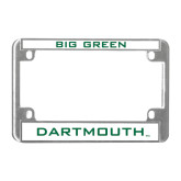 Metal Motorcycle License Plate Frame in Chrome-BIG GREEN