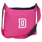 Cotton Canvas Tropical Pink/Charcoal Sling Bag-Dartmouth D