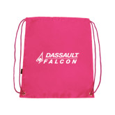 Nylon Pink Drawstring Backpack-Dassault Falcon