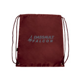 Nylon Maroon Drawstring Backpack-Dassault Falcon