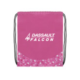 Nylon Pink Bubble Patterned Drawstring Backpack-Dassault Falcon