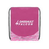 Nylon Zebra Pink/White Patterned Drawstring Backpack-Dassault Falcon