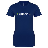 Next Level Ladies SoftStyle Junior Fitted Navy Tee-Falcon