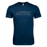 Next Level SoftStyle Navy T Shirt-Dassault Falcon