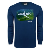 Navy Long Sleeve T Shirt-Falcon 5X Over Green Landscape