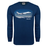 Navy Long Sleeve T Shirt-Falcon 5X Over Clouds
