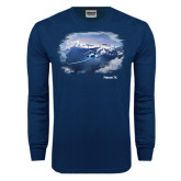 Navy Long Sleeve T Shirt-Falcon 7X Over Mountains