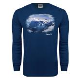 Navy Long Sleeve T Shirt-Falcon 7X Over Mountains