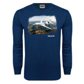 Navy Long Sleeve T Shirt-Falcon 8X Over River