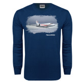 Navy Long Sleeve T Shirt-Falcon 2000LX Silver Lining