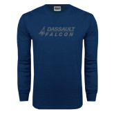 Navy Long Sleeve T Shirt-Dassault Falcon