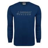 Navy Long Sleeve T Shirt-Dassault Falcon