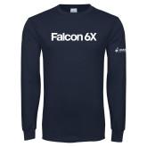 Navy Long Sleeve T Shirt-Falcon 6X