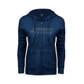 ENZA Ladies Navy Fleece Full Zip Hoodie-Dassault Falcon