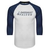 White/Navy Raglan Baseball T-Shirt-Dassault Falcon