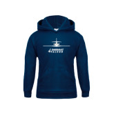 Youth Navy Fleece Hoodie-Trijet Craft Stacked - Falcon 900, Falcon 900EX, Falcon 50EX