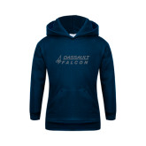 Youth Navy Fleece Hoodie-Dassault Falcon