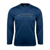 Performance Navy Longsleeve Shirt-Dassault Falcon