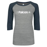 ENZA Ladies Athletic Heather/Navy Vintage Baseball Tee-Falcon