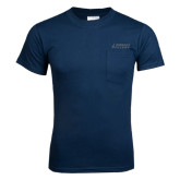 Navy T Shirt w/Pocket-Dassault Falcon