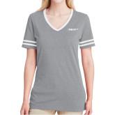 Ladies Grey Heather/White Tri Blend Varsity Tee-Falcon