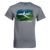 Charcoal T Shirt-Falcon 5X Over Green Landscape