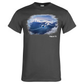 Charcoal T Shirt-Falcon 7X Over Mountains