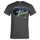 Charcoal T Shirt-Falcon 7X Over Beach