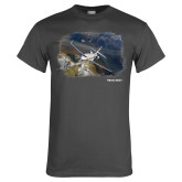 Charcoal T Shirt-Falcon 2000S Over Snowy Mountain