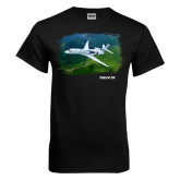 Black T Shirt-Falcon 5X Over Green Landscape