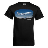 Black T Shirt-Falcon 5X Over Clouds