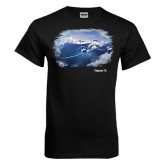 Black T Shirt-Falcon 7X Over Mountains