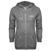 ENZA Ladies Grey/Black Marled Full Zip Hoodie-Dassault Falcon