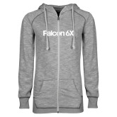 ENZA Ladies Grey/Black Marled Full Zip Hoodie-Falcon 6X