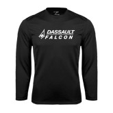 Performance Black Longsleeve Shirt-Dassault Falcon